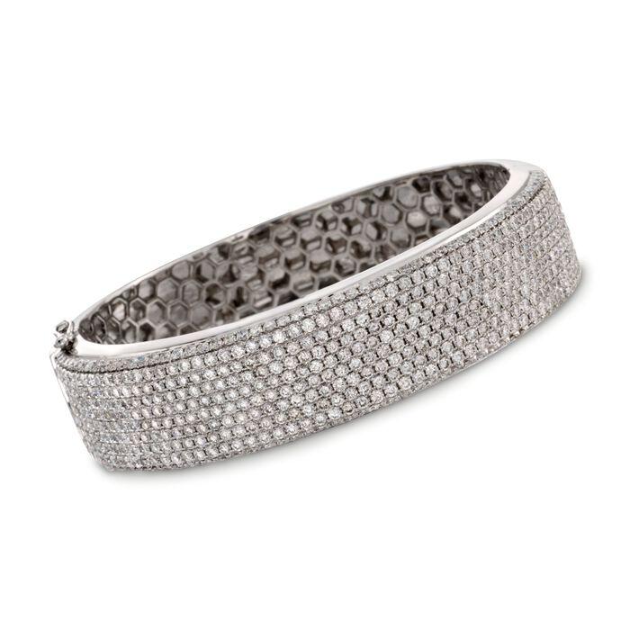 "11.00 ct. t.w. Diamond Bangle Bracelet in 18kt White Gold. 7"""