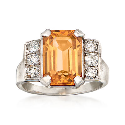 C. 1970 Vintage 4.50 Carat Yellow Topaz and .50 ct. t.w. Diamond Ring in 18kt White Gold