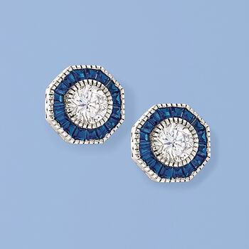 .60 ct. t.w. Simulated Sapphire and 1.00 ct. t.w. CZ Octagon Earrings in Sterling Silver, , default