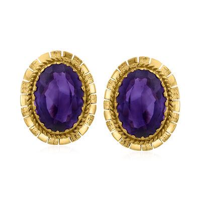 C. 1960 Vintage 10.00 ct. t.w. Amethyst Earrings in 14kt Yellow Gold