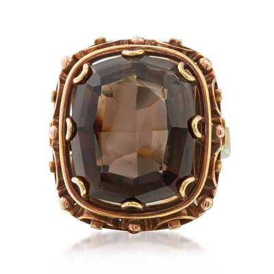 C. 1960 Vintage 10.50 Carat Smoky Quartz Ring in 14kt Yellow Gold, , default