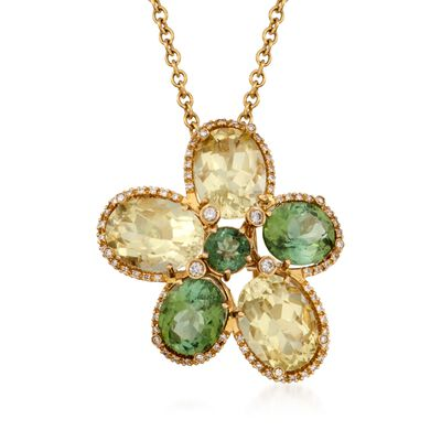 26.84 ct. t.w. Multi-Stone Floral Pin Pendant Necklace in 18kt Yellow Gold, , default