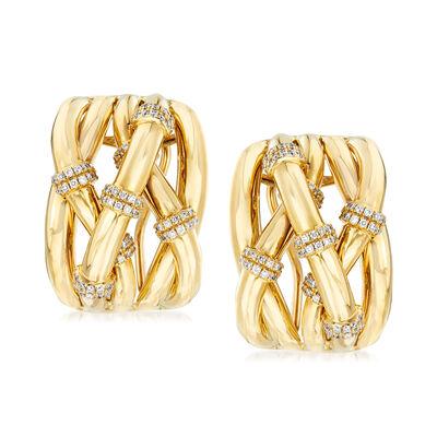 .57 ct. t.w. Diamond Station Crisscross Earrings in 14kt Yellow Gold
