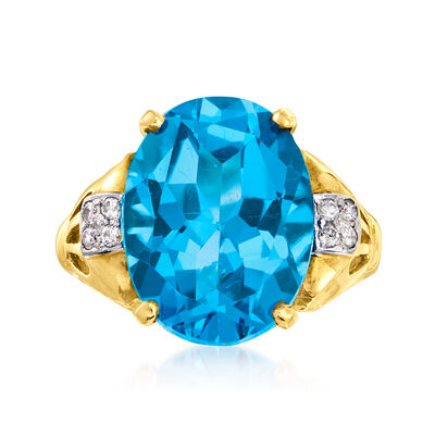 C. 1980 Vintage 12.50 Carat Sky Blue Topaz and .12 ct. t.w. Diamond Ring in 14kt Yellow Gold