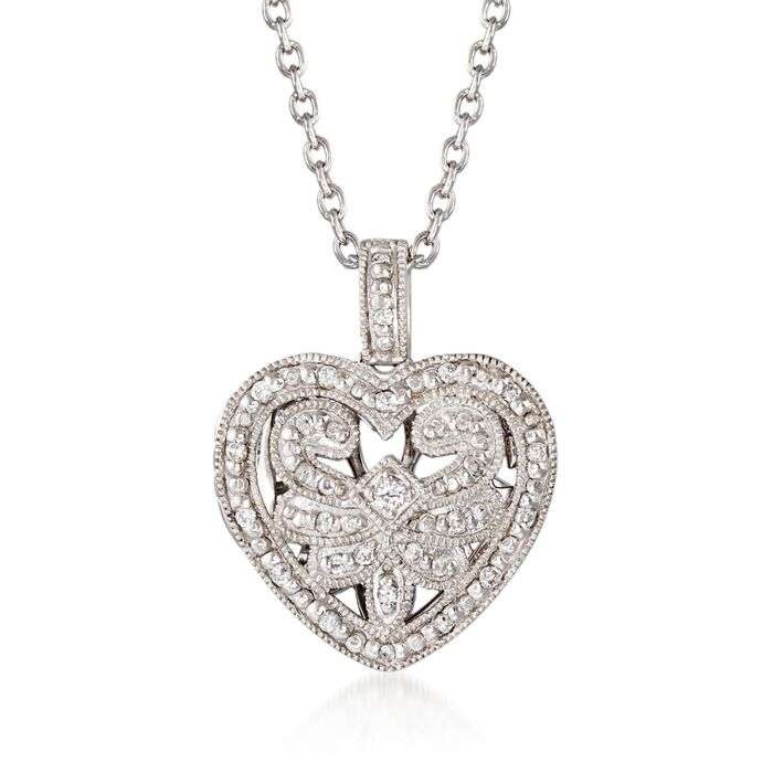 .20 ct. t.w. Diamond Fancy Heart Locket Necklace in Sterling Silver. 18""