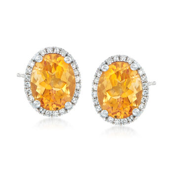 3.30 ct. t.w. Citrine Stud Earrings With .10 ct. t.w. Diamonds in 14kt White Gold, , default