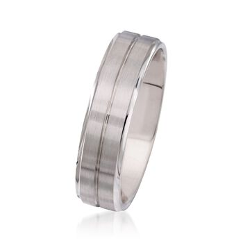 Men's 6mm 14kt White Gold Wedding Ring. Size 11, , default