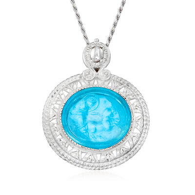 Italian Blue Venetian Glass and Mother-Of-Pearl Pendant Necklace in Sterling Silver
