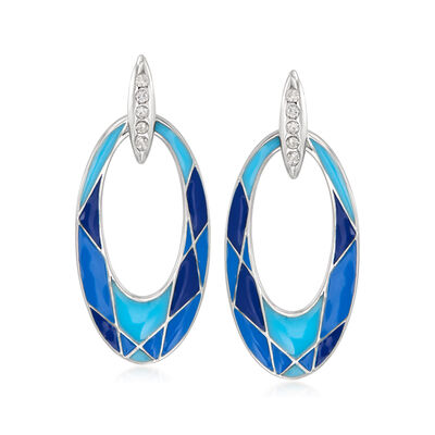 Blue Enamel Oval Drop Earrings with Diamond Accents in Sterling Silver