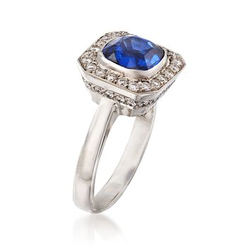C. 2000 Vintage 3.18 Carat Sapphire and .75 ct. t.w. Diamond Ring in Platinum. Size 7.5, , default