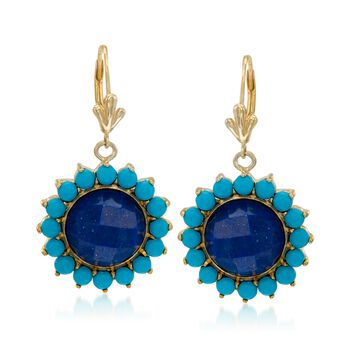 Lapis and Turquoise Drop Earrings in 14kt Gold Over Sterling Silver, , default
