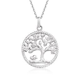 Sterling Silver Roped Tree of Life Pendant Necklace, , default