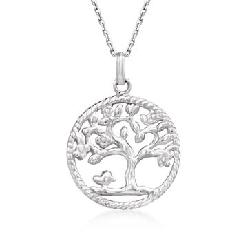 """Sterling Silver Roped Tree of Life Pendant Necklace. 18"""", , default"""
