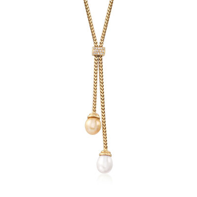 C. 1980 Vintage Champagne and White Cultured Pearl Lariat Necklace in 14kt Gold With Diamond Accents, , default