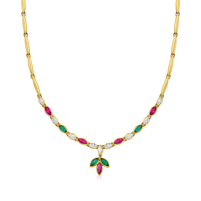 C. 1970 Vintage 1.75 ct. t.w. Ruby and 1.35 ct. t.w. Diamond Necklace with 1.00 ct. t.w. Emerald in 18kt Yellow Gold