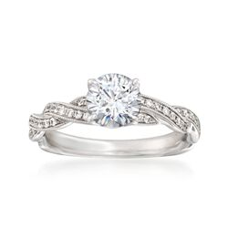 Simon G. .20 ct. t.w. Diamond Engagement Ring Setting in 18kt White Gold, , default
