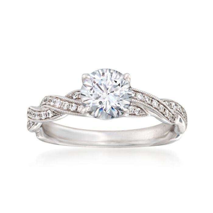Simon G. .20 ct. t.w. Diamond Engagement Ring Setting in 18kt White Gold, , default