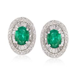 3.60 ct. t.w. Emerald and 1.63 ct. t.w. Diamond Earrings in 18kt White Gold, , default