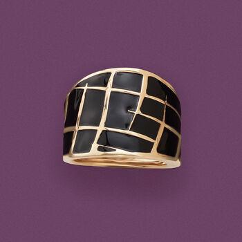 Italian Black Enamel Dome Ring in 14kt Yellow Gold. Size 5