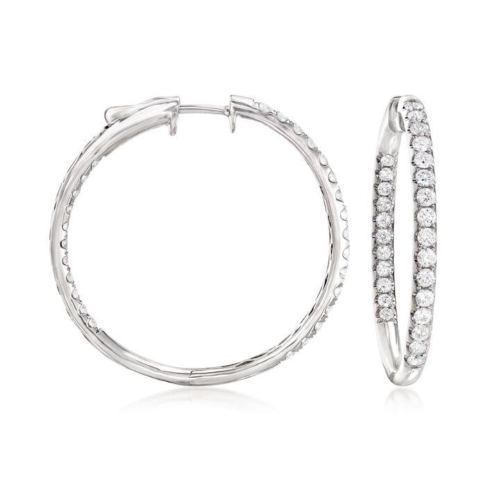 """2.00 ct. t.w. Diamond Inside-Outside Hoop Earrings in 14kt White Gold. 1 1/4"""""""