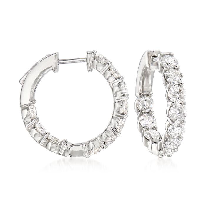 """4.00 ct. t.w. Diamond Inside-Outside Hoop Earrings in Platinum. 3/4"""""""