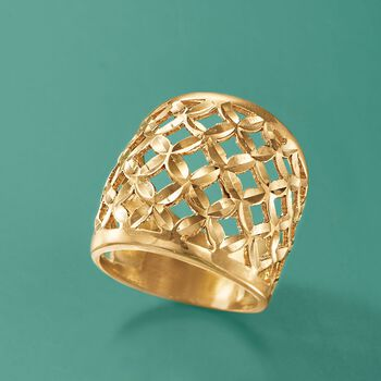 Italian 18kt Gold Over Sterling Silver Lattice Ring. Size 5, , default