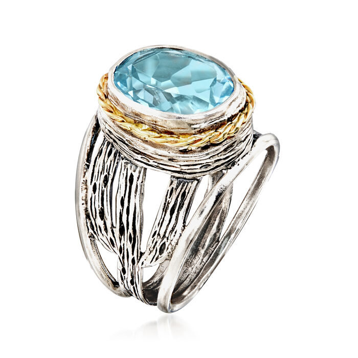 5.00 Carat Blue Topaz Openwork Ring in Sterling Silver and 14kt Yellow Gold