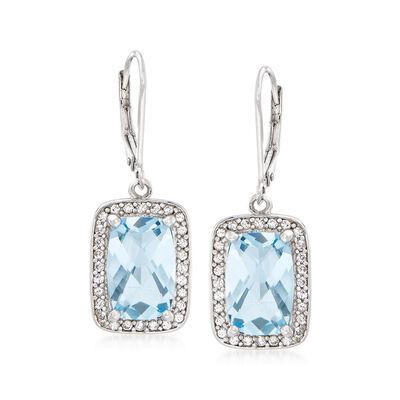 6.75 ct. t.w. Sky Blue Topaz and .90 ct. t.w. White Zircon Drop Earrings in Sterling Silver, , default