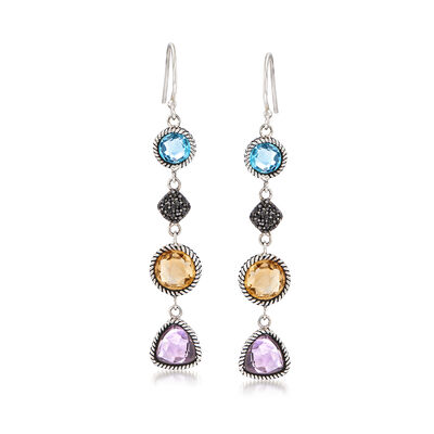 8.00 ct. t.w. Multi-Gem Drop Earrings in Sterling Silver, , default