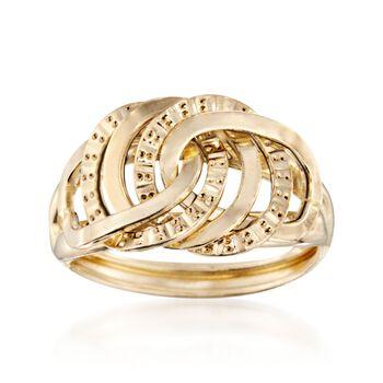 Italian 14kt Yellow Gold Interlocking-Link Ring, , default