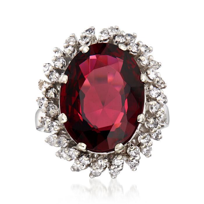 C. 2000 Vintage 9.45 Carat Rhodolite Garnet and .90 ct. t.w. Diamonds in 14kt White Gold. Size 6.25, , default
