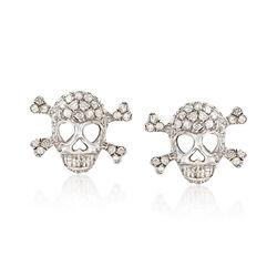 .80 ct. t.w. Diamond Skull and Crossbone Earrings in 18kt White Gold , , default