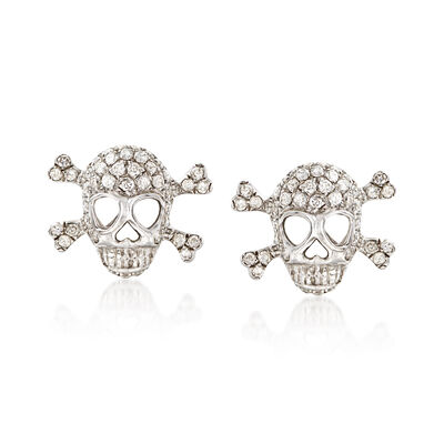 .80 ct. t.w. Diamond Skull and Crossbone Earrings in 18kt White Gold , , default