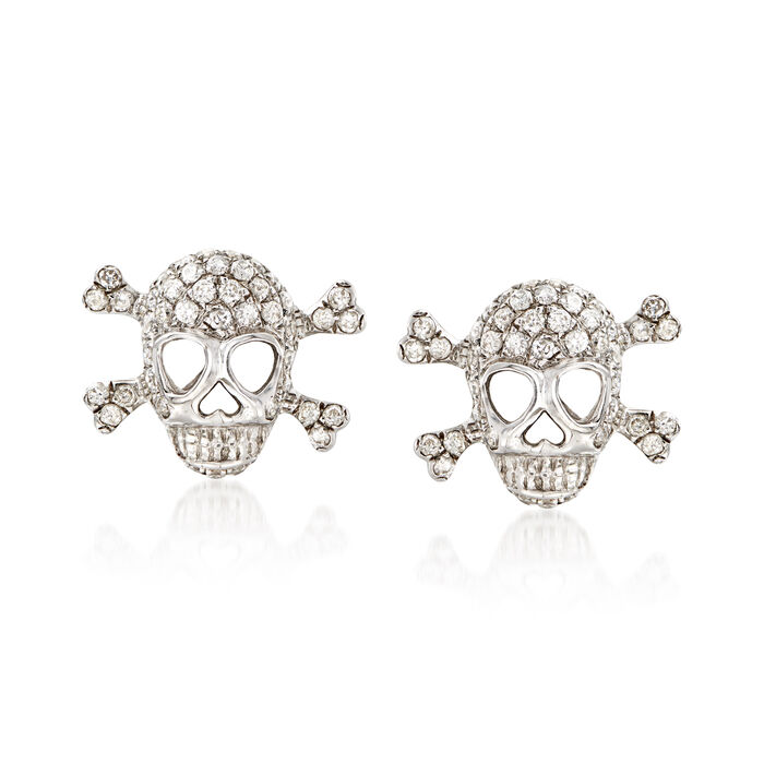 .80 ct. t.w. Diamond Skull and Crossbone Earrings in 18kt White Gold, , default