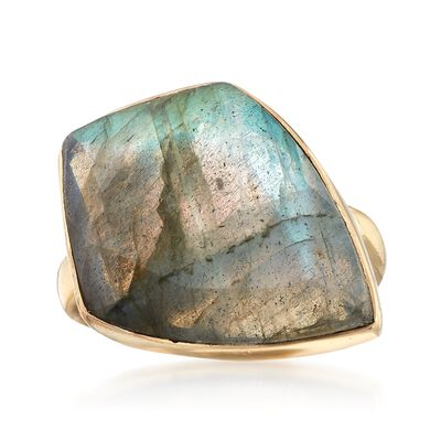 Kite-Shaped Labradorite Ring in 18kt Gold Over Sterling