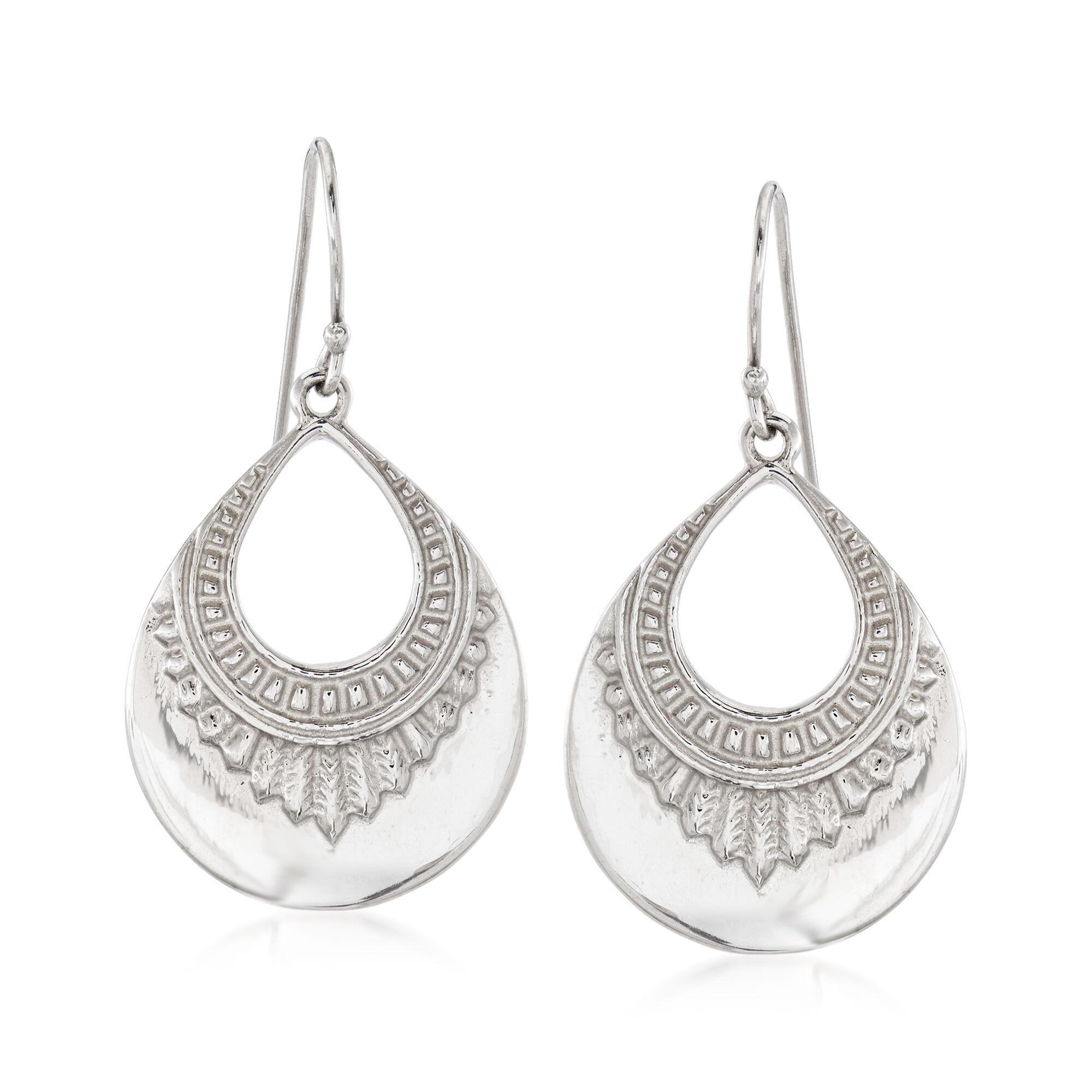 Sterling Sivler Italian Double Teardrop Dangle Earrings