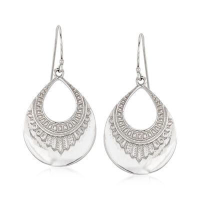 Italian Sterling Silver Open-Design Drop Earrings