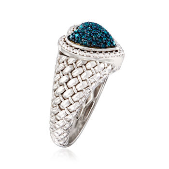 .25 ct. t.w. Blue Diamond Heart Ring in Sterling Silver. Size 5, , default