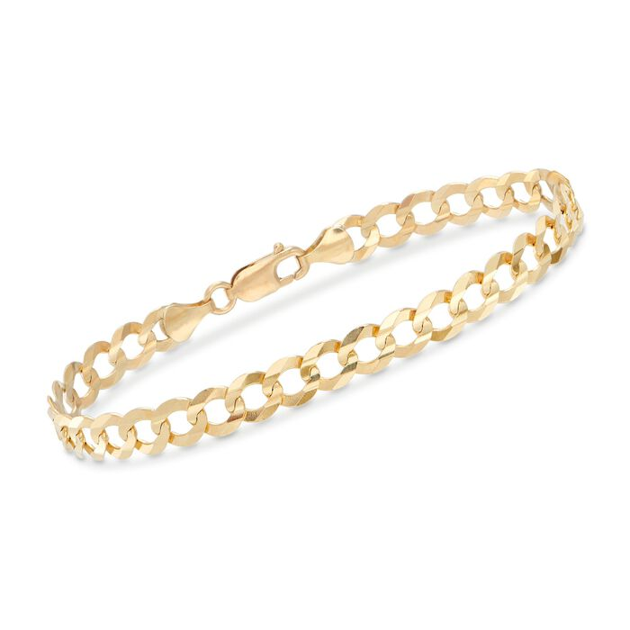 Men's 7mm 14kt Yellow Gold Faceted Curb-Link Chain Bracelet. 8.5""