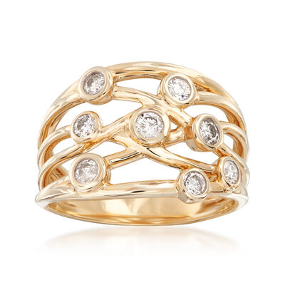 .50 ct. t.w. Diamond Bezel-Set Crisscross Ring in 14kt Yellow Gold, , default