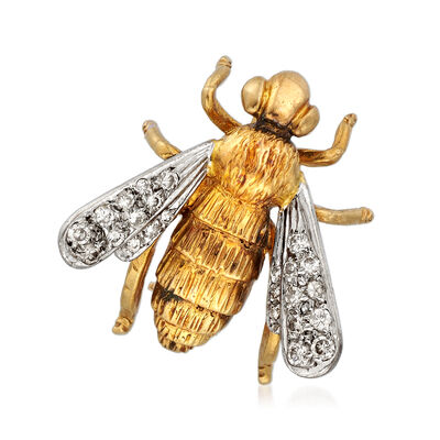 C. 1960 Vintage .20 ct. t.w. Diamond Bee Pin in 18kt Two-Tone Gold, , default