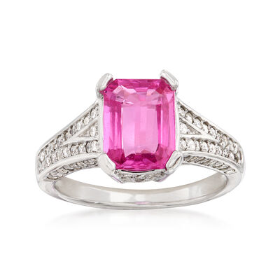 2.50 ct. Pink Sapphire and .65 ct. t.w. Diamond Ring in 14kt White Gold, , default