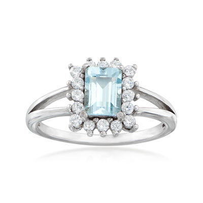 1.10 Carat Aquamarine and .40 ct. t.w. White Zircon Ring in Sterling Silver