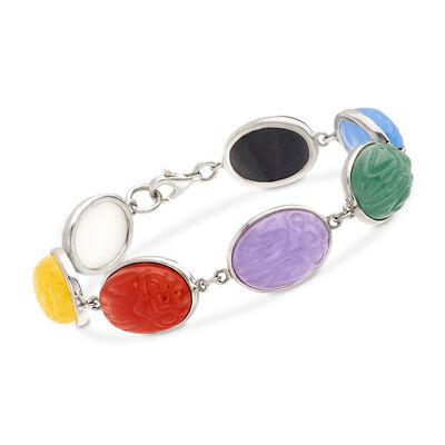 Multicolored Jade Scarab Bracelet in Sterling Silver, , default
