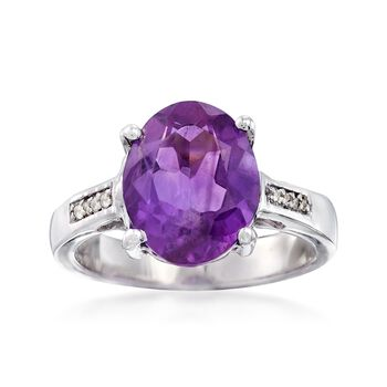 3.60 Carat Amethyst Ring With White Topaz Accents in Sterling Silver, , default