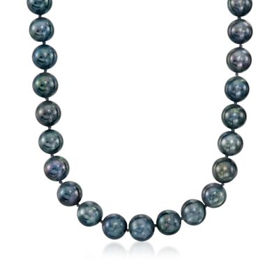 11-12mm Black Cultured Pearl Necklace with 14kt White Gold