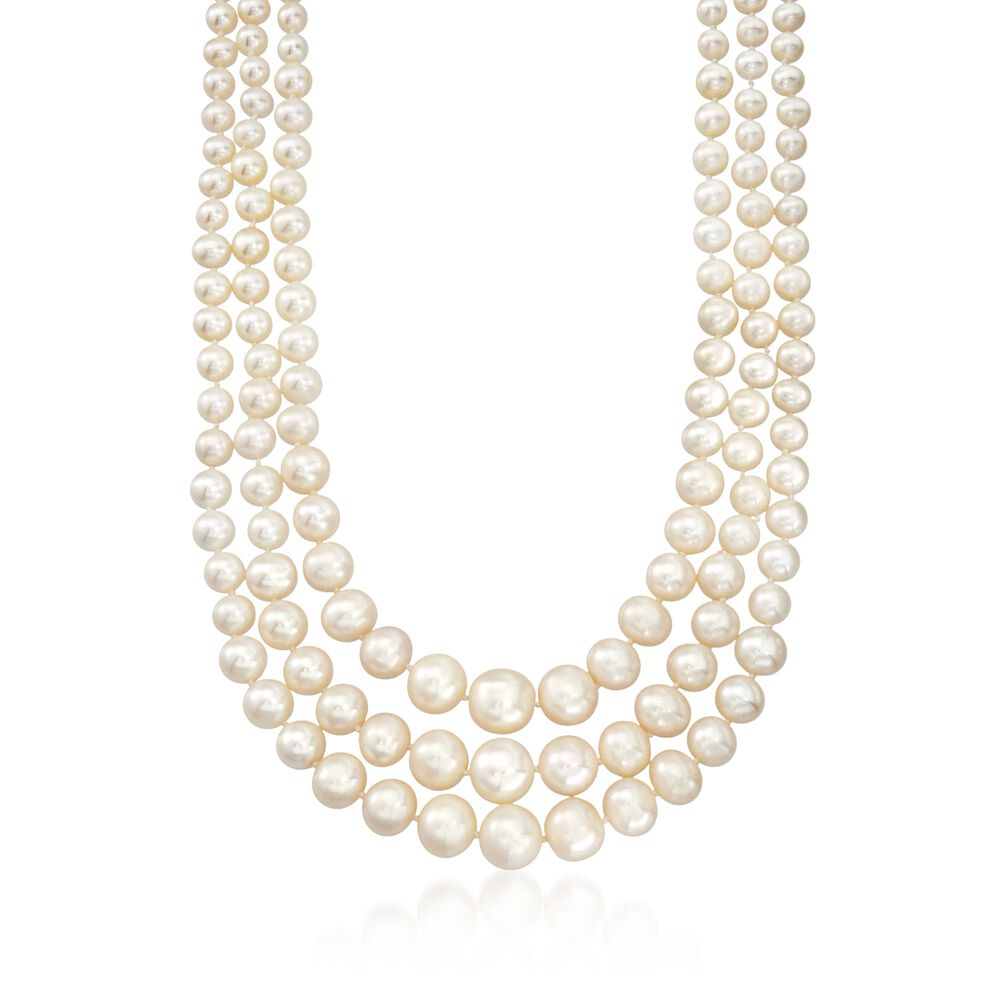 4ed178b5387 6-12.5mm Cultured Pearl Three-Strand Necklace with 14kt Yellow Gold ...