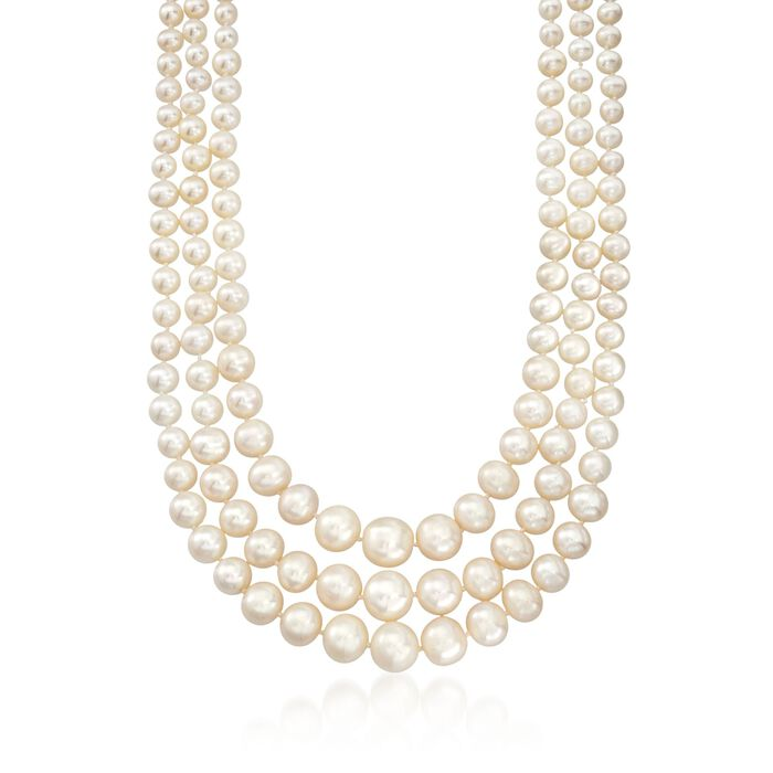 6-12.5mm Cultured Pearl Three-Strand Necklace with 14kt Yellow Gold, , default