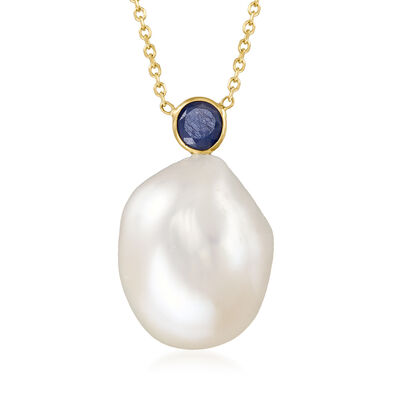 15x12mm Cultured Baroque Pearl and .30 Carat Sapphire Necklace in 14kt Yellow Gold