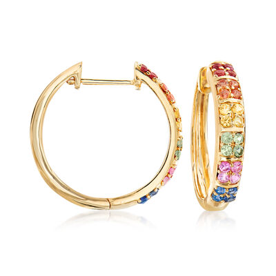 1.00 ct. t.w. Multicolored Sapphire Hoop Earrings in 14kt Yellow Gold